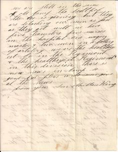 Civil War Letter page 2 of Milton Kings letter to his father in Lowell, Ohio.