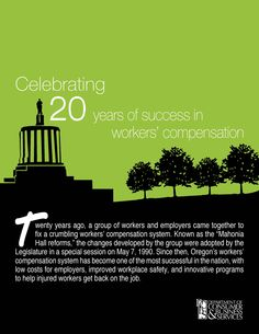 Celebrating 20 years of success in workers' compensation, by the Oregon Department of Consumer and Business Services