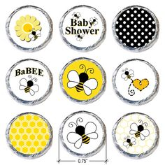 Bumble Bee Baby Shower Stickers (Set of 324)
