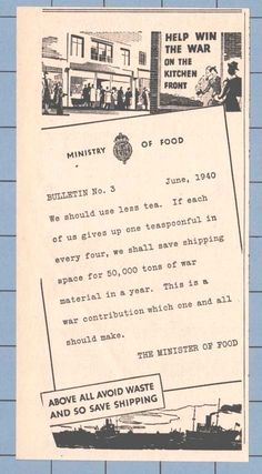 AVOID WASTE - HELP WIN THE WAR - MINISTER OF FOOD (1940 News Cutting)