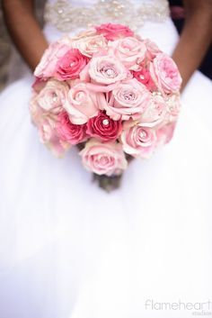 Pink wedding bouquet with jewels