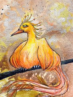Excited to share this item from my #etsy shop: Firebird PAINTING phoenix fawkes magic bird rebirth watercolor illustration