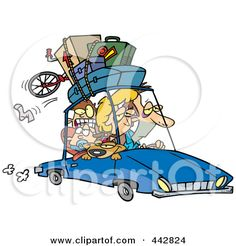 Royalty-Free (RF) Clip Art Illustration of a Cartoon Exhausted Family Homeward Bound From A Road Trip by Ron Leishman