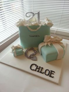 Choc mud Tiffany & co cake. Everything here is edible, aside from the 21