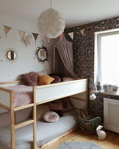 Beautiful kids room by Anna Samsel, featuring our Garbo & Friends wallpaper - Fauna. Kura Ikea, Ikea Bunk Bed, Big Girl Rooms, Boy Room, Kids Room, Sister Room, Bunk Bed Designs, Baby Room Design, Room Inspiration