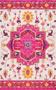 Pretty and pink! This is Rugs USA's Savanna FE01 Hand Hooked Wool Herati Medallion Rug!