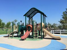 Full view of the playground for little kids at Mountain View Park in Eastvale, California. http://youreastvalerealtor.com/eastvale-parks/