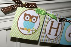 PRINTABLE - Look Whoo's Turning 1 Mod Owl Boy Happy Birthday Banner (Blue, Brown, Kiwi) by The Party Paper Fairy. $8.00, via Etsy.