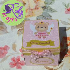 Bear Explosion Box Invitation Designed and sold by Ruby Crafts and Gifts Shop Pink And Gold Invitations, Box Invitations, Floral Invitation, Invitation Design, Birthday Invitations, Explosion Box, 7th Birthday, Christening, Party Themes