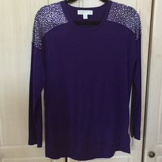 MICHAEL Michael Kors Silk/Cashmere Stud Sweater The style of the black sweater but in purple with silver studs. Great condition - only worn a couple times. Please feel free to leave a comment with any questions or to negotiate the price! MICHAEL Michael Kors Sweaters V-Necks