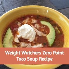 added canned chicken you get tired of the same zero point vegetable soup, try the Weight Watchers zero points taco soup recipe. It has zero plus points and is very filling. Weight Watcher Dinners, Plats Weight Watchers, Weight Watchers Soup, Weight Watchers Smart Points, What Is Weight Watchers, Weight Watcher Recipes, Weight Watcher Vegetable Soup, Weight Watchers Freezer Meals, Ww Recipes