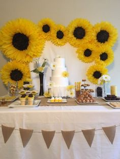 Best 12 Oversized paper sunflower backdrop for rustic weddings, bridal or baby showers, sunflower themed parties and birthday parties – 9 flowers Sunflower Wedding Decorations, Bridal Shower Decorations, Sunflower Party Themes, Sunflower Cupcakes, Yellow Party Decorations, Sunflower Centerpieces, Sunflower Birthday Parties, Paper Sunflowers, Sunflower Baby Showers
