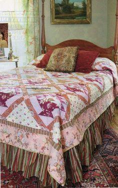 Heirloom Rose Baskets Quilt Pattern Pieced SM