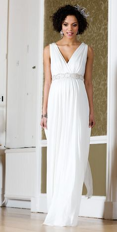 Anastasia Maternity Gown (Ivory) with Diamante Sash by Tiffany Rose