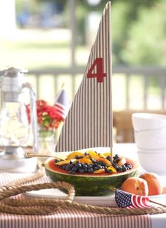 Fruit Salad Sailboat + of July Party Table Setting + Watermelon Sailboat + Summer + Picnic + BBQ 4th Of July Celebration, 4th Of July Party, Fourth Of July, Summer Table Decorations, 4th Of July Decorations, Patriotic Crafts, Patriotic Party, Watermelon Boat, Watermelon Ideas