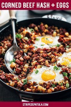 Corned Beef Hash and Eggs Breakfast Skillet | Corned Beef Hash Recipe | Corned Beef Hash Homemade | Leftover Corned Beef Recipes | Breakfast Skillet | Breakfast Skillet Potatoes | Breakfast | Breakfast Recipes Easy | St Patricks Day Food | Baked Eggs Oven | Egg Recipes for Breakfast | Potato Recipes | #stripedspatula #cornedbeef #eggs #breakfastrecipes #brunch #potatoes #stpatricksday via Striped Spatula | Gourmet Recipes for Home Cooks #beeffoodrecipes