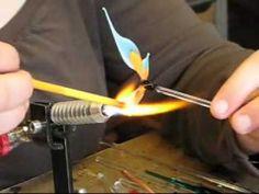 Glassblowing a glass butterfly figurine - lampwork, flamework, hotglass - YouTube