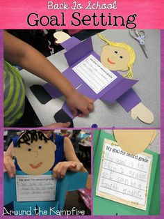 Back to school goal setting craft. We display these all year then revisit our goals during the last week of school.This would be a fun addition to all about me activities too! First Day Of School Activities, 1st Day Of School, Beginning Of The School Year, School Goals, Student Goals, Responsive Classroom, Math About Me, Leader In Me, Classroom Displays