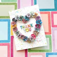 Used my Whimsical collection with Pink Paislee and Silhouette rolled flower cut files, miniaturized! Flower Cards, Paper Flowers, Rainbow Bouquet, Handmade Thank You Cards, Happy Easter Everyone, Scrapbook Cards, Scrapbooking, Spring Crafts, Homemade Cards