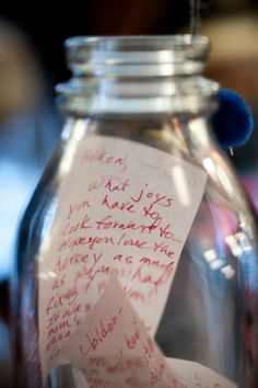 baby's first birthday - message in a bottle from guests to open at it's 18th birthday
