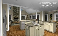 Open floor plan, cathedral ceiling great room and wrap-around porch define this 1-story with bonus room, 2390 square foot country style house plan from Carolina Home Plans.
