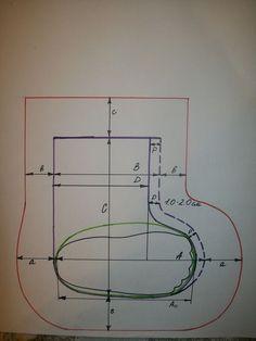 Я валяю много валеночек, особенно детских. И хочу представить вам схему построения выкроки валенка и шаблона для валяния. Первый этап - построение чертежа валенка по заданным размерам и шаблона для валяния. Вот схема построения для валенка. Размер стопы 13.5 см, высота валенка 16 см 1. Сначала берем ногу, которую нужно одеть в валенок, и обводим ступню на бумаге, если ноги нет под рукой, берем стельку нужного размера (черная линия на схеме) 2.