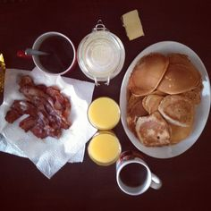Most perfect Weekend breakfast, pancakes, bacon, coffee and orange juice.