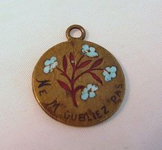 French Brass Enamel Forget Me Not Charm Ne M'oubliez Pas, $63.00