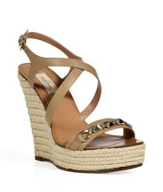 ae04ae717f2 Shop for Beige Rock Stud Espadrille Wedges by Valentino at ShopStyle.