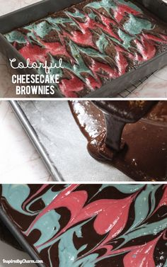 Colorful Cheesecake Brownies - Give your brownies a kick with swirls of your favorite colors! So easy and delicious!
