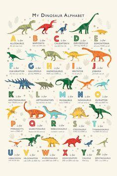 dinosaur nursery Dinosaur Alphabet Canvas Artwork by PaperPaintPixels Dinosaur Kids Room, Dinosaur Alphabet, Dinosaur Room Decor, Dinosaur Gifts, Dinosaur Nursery, Alphabet Print, Dinosaur Art, Boys Dinosaur Bedroom, Dinosaur Types