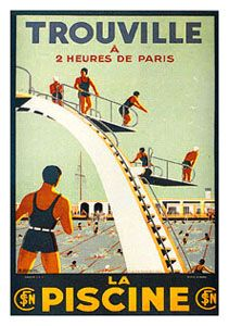 TROUVILLE LA PISCINE Vintage Swimming Reprint Poster - 1930 Swimming Diving - available at www.sportsposterwarehouse.com