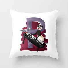 P comme panda Throw Pillow by Dinett illustration - $20.00