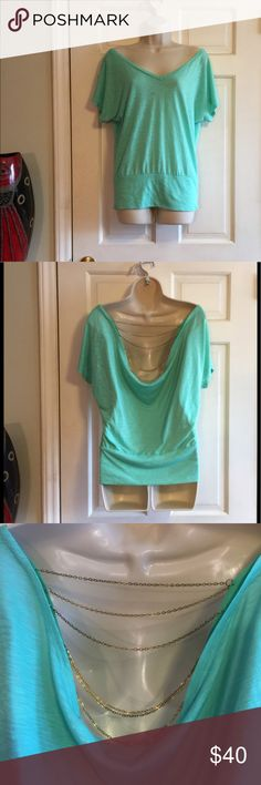 MINT GREEN BACKLESS BLOUSE W/ SLIM GOLD CHAINS MINT GREEN BACKLESS BLOUSE W/ SLIM GOLD CHAINS James & Joy Tops Blouses
