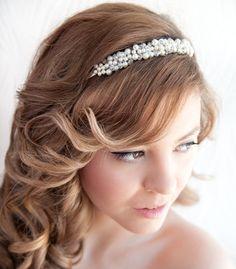 Bridal Headband Wedding pearls and crystals by MagnoliaHandmade
