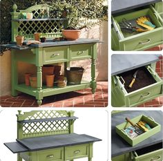 """Caroline Potting Bench (Frontgate $3000) - Inspired by romantic French gardens & latticework. Made of powdercoated cast aluminum with a zinc-finished work surface & adorned with pineapple finials & fluted legs. Two full-extension storage drawers contain a removable mesh sifter tray on the left side & a removable soil storage insert on the right side. Towel bars & Protective glides on the bottom of each leg. 69-1/2""""W x 31""""D x 60""""H."""