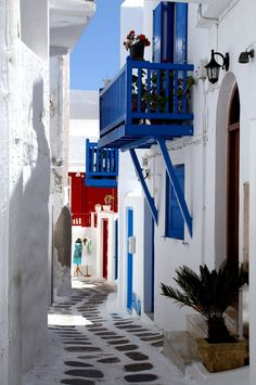 Mykonos island Greece. Traditional narrow alley