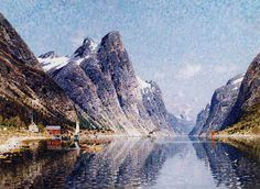 A Norwegian Fjord Scene Adelsteen Normann . Web Gallery, Virtual Museum, Cool Landscapes, Original Artwork, Scene, Mountains, Summer, Travel, Painting