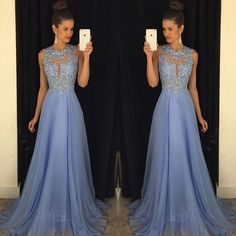 fashion elengant light blue prom dresses lappliques lace prom dress beading chiffon evening dress women sexy evening dress formal prom party gown