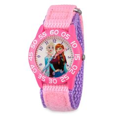 Elsa and Anna will turn learning time into a fun adventure with our Frozen Time Teacher Watch. Featuring easy-to-read minutes, labeled hands, and comfy nylon strap, this watch will help your little one to tell time - in no time& Disney Jewelry, Kids Jewelry, Frozen Watch, Disney Clock, Minnie Bow, Dog Pajamas, How To Make Animations, Learning Time, Disney Sketches