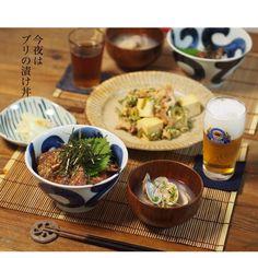 instagram - ブリの漬け丼、アサリのお味噌汁、ゴーヤチャンプルー、新生姜の甘酢漬