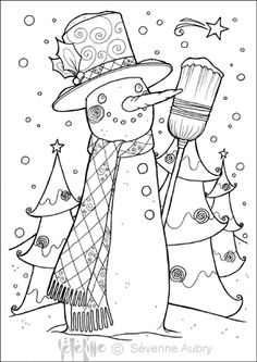 bonhomme-neige Coloring Pages To Print, Coloring Book Pages, Coloring Sheets, Christmas Colors, Winter Christmas, Christmas Crafts, Holiday, Illustration Noel, Theme Noel