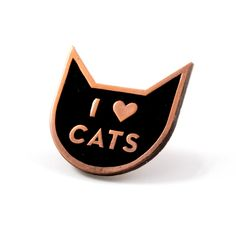 No, really, we love cats - Copper pin with black enamel - Rubber backing…