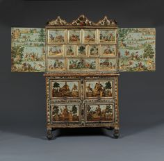 11111 – A LACCA POVERA CABINET ON CHEST DEPICTING NOBLES AND BATTLE SCENES | Carlton Hobbs New York