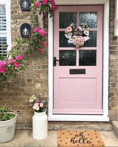 Summer Pastel Pink Front Door With Oh Hello Dotty Doormat, Front Door Colors, Front Doors, Pink Houses, Painted Doors, Interior Exterior, House Front, Rustic Style, Pastel Pink, Decoration