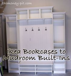 Adding Mudroom Built-Ins to the Garage.. made out of IKEA bookcases. #diytvstands2x4
