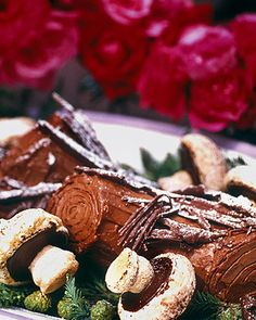 """This fanciful """"Yule log"""" is a classic French holiday dessert."""