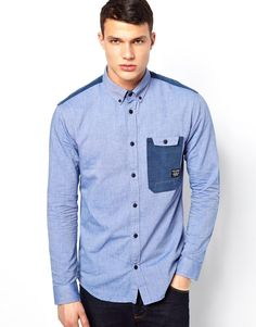 Discover our stylish men's shirts at ASOS. Shop our different shirt styles, from check to stripes, designer or dress shirts in a range of sleeve lengths. Nigerian Men Fashion, Indian Men Fashion, Denim Shirt Men, Chambray Shirts, Men's Denim, Stylish Shirts, Casual Shirts, Chambray Outfit, Boys Shirts