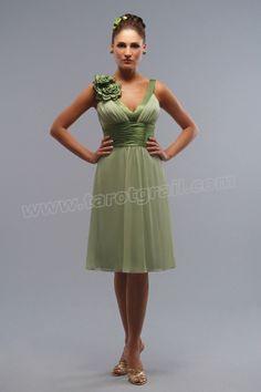 Chiffon-Charmeuse V-neck Neckline Short Prom Dress