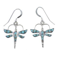 Dragonfly Opal And Turquoise Sterling Silver Southwest Hook Dangle Earrings RX66593